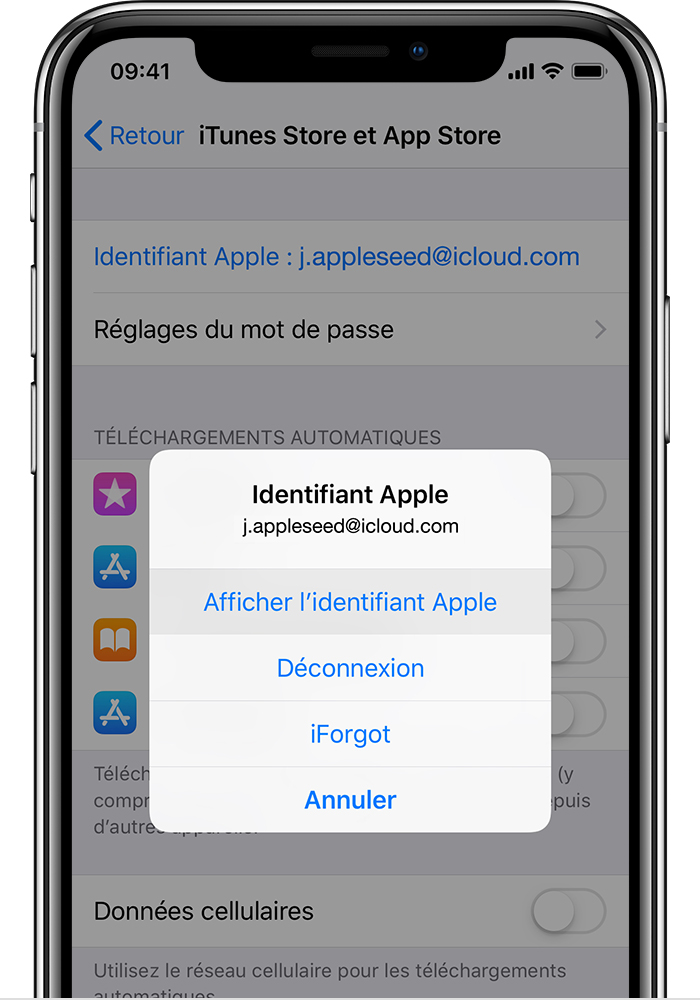 Option Afficher l'identifiant Apple sur l'écran iTunes Store et App Store d'un iPhone