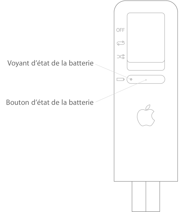 v rification du voyant d tat et du niveau de charge de la batterie de votre ipod shuffle. Black Bedroom Furniture Sets. Home Design Ideas