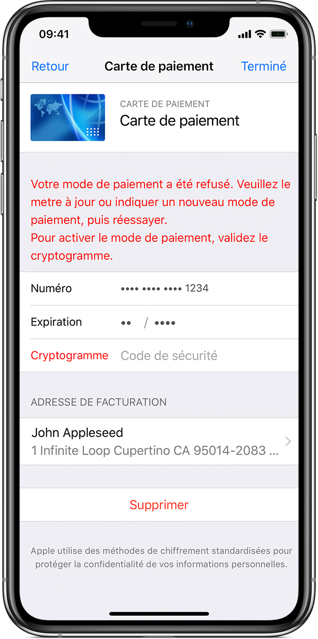 carte bancaire paiement refusé Si votre mode de paiement est refusé dans l'App Store ou l'iTunes