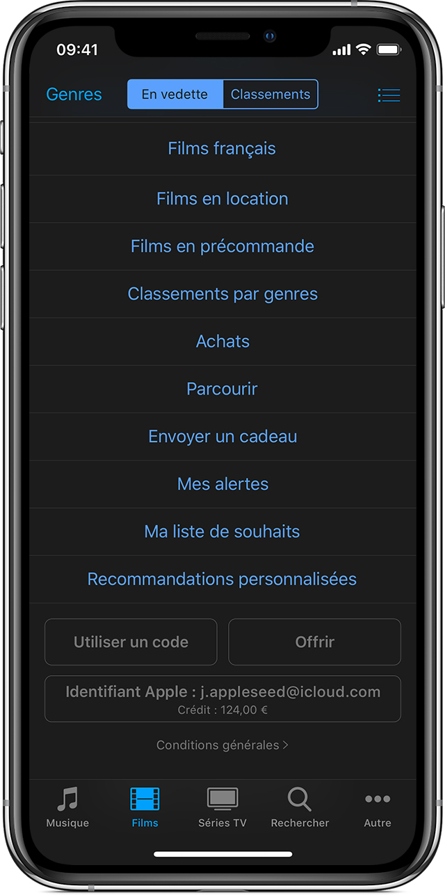 iPhone affichant le bouton Utiliser un code