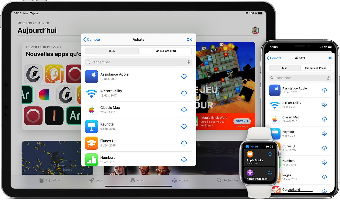 Télécharger à nouveau des apps, de la musique, des films, des séries TV et  des livres - Assistance Apple