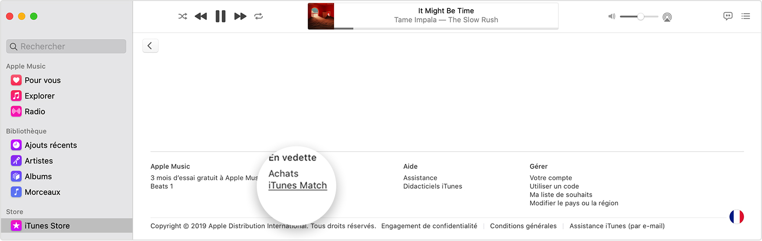 L'app Apple Music montre qu'iTunes Match est situé au bas de l'iTunes Store.