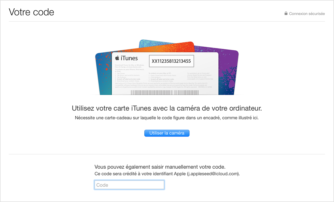 utilisation de cartes cadeaux et de codes itunes assistance apple. Black Bedroom Furniture Sets. Home Design Ideas