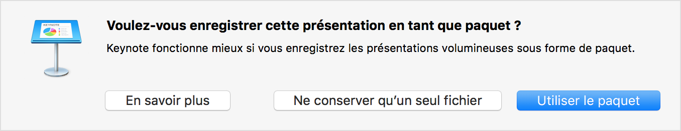 Message d'alerte de Keynote