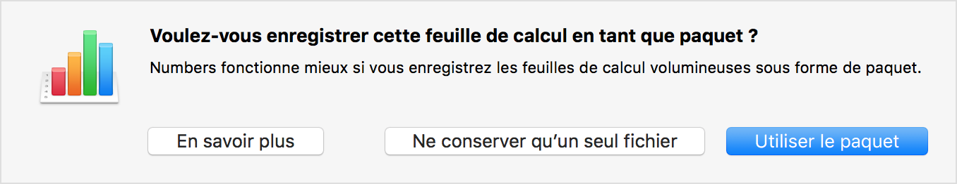 Message d'alerte de Numbers