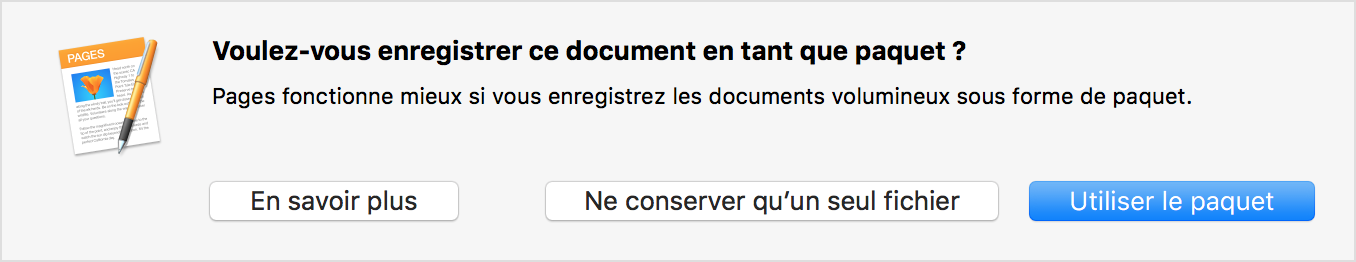 Message d'alerte de Pages