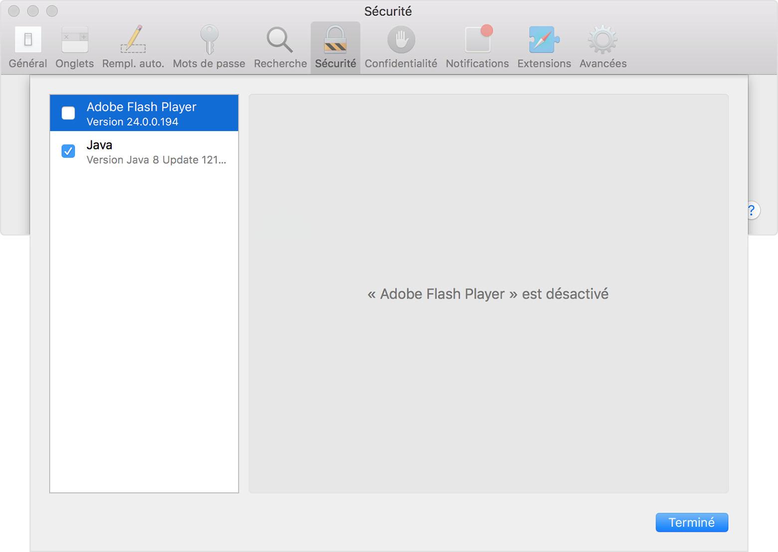 safari : à propos de la gestion des modules internet pour mac