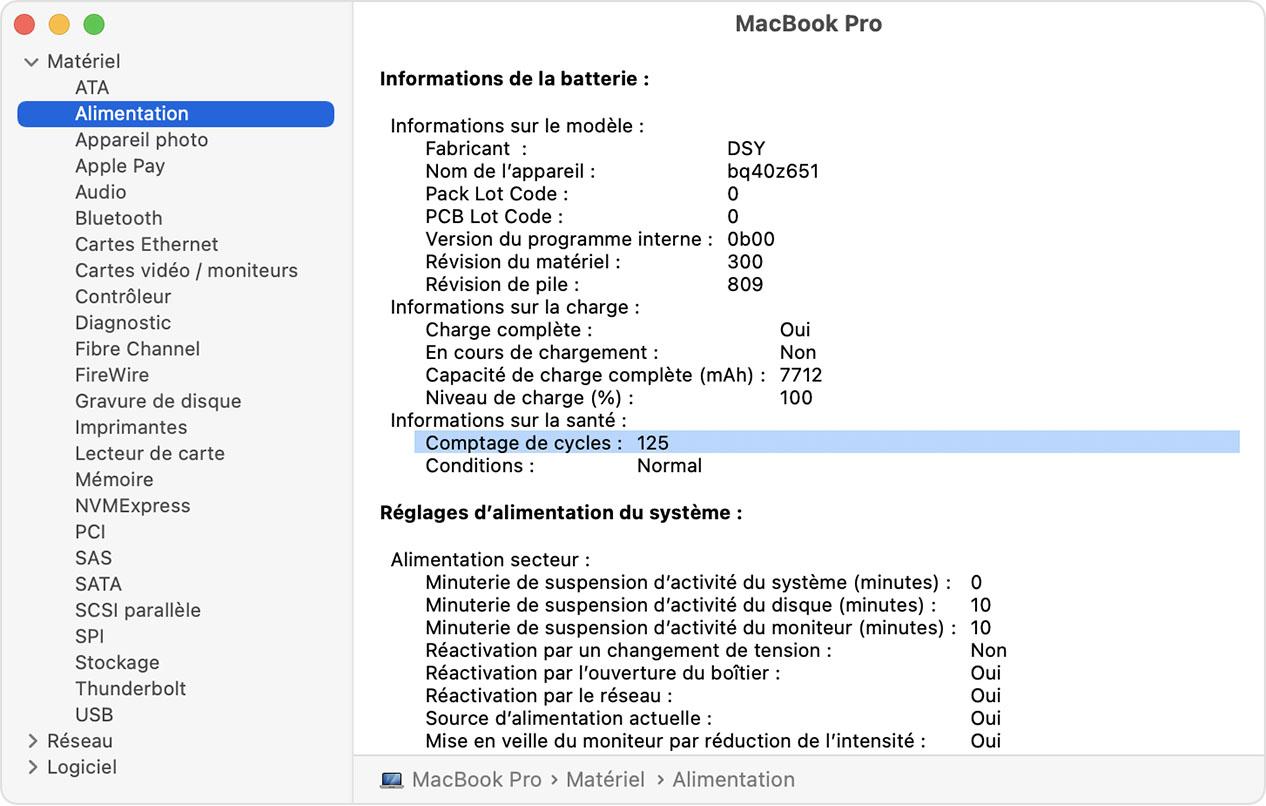 Fenêtre Informations système du MacBookPro avec le nombre de cycles de la batterie indiqué en surbrillance
