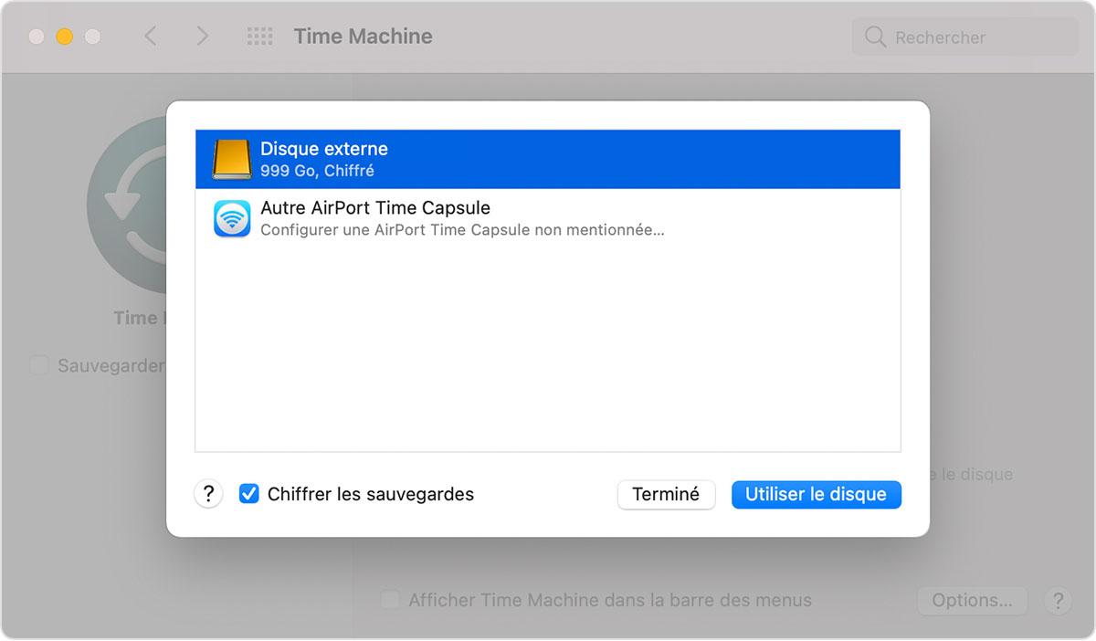 Fenêtre TimeMachine des Préférences Système de macOS, sélecteur Choisir un disque de sauvegarde