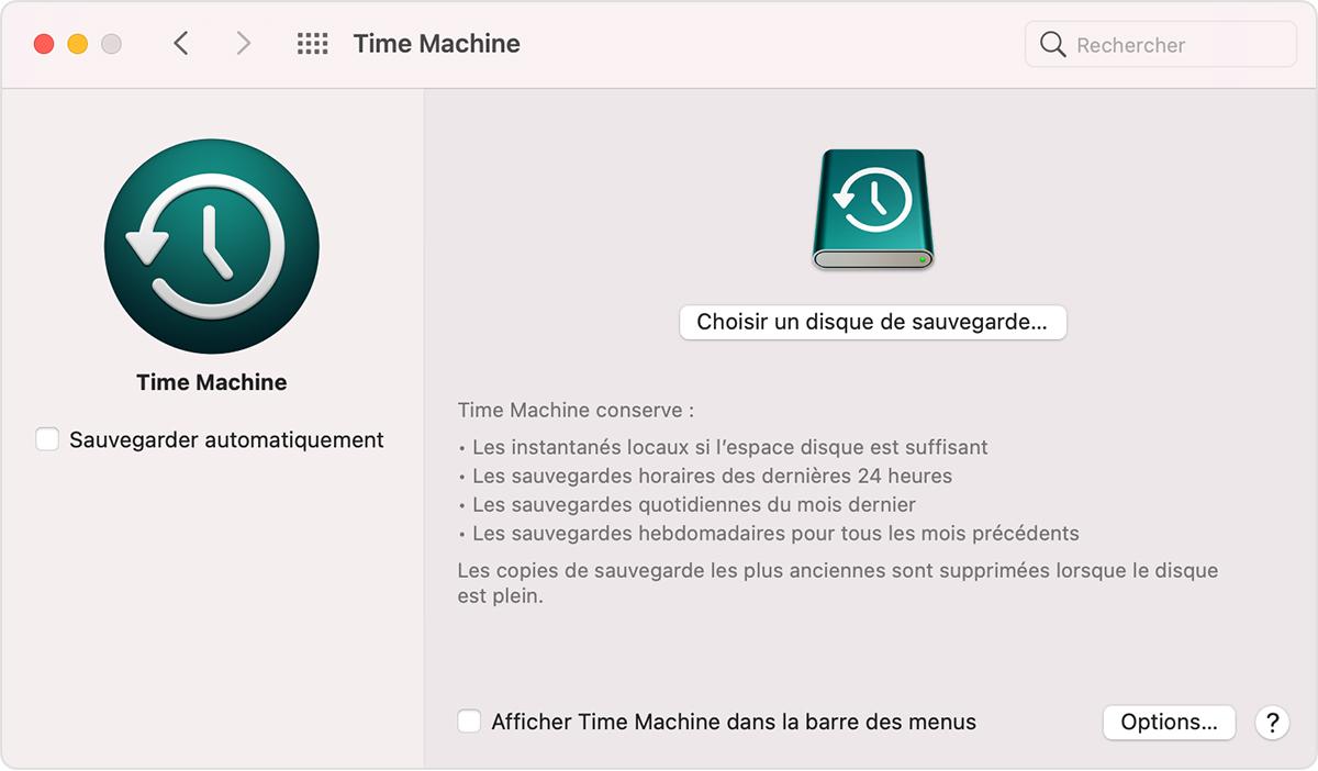 Fenêtre TimeMachine des Préférences Système de macOS