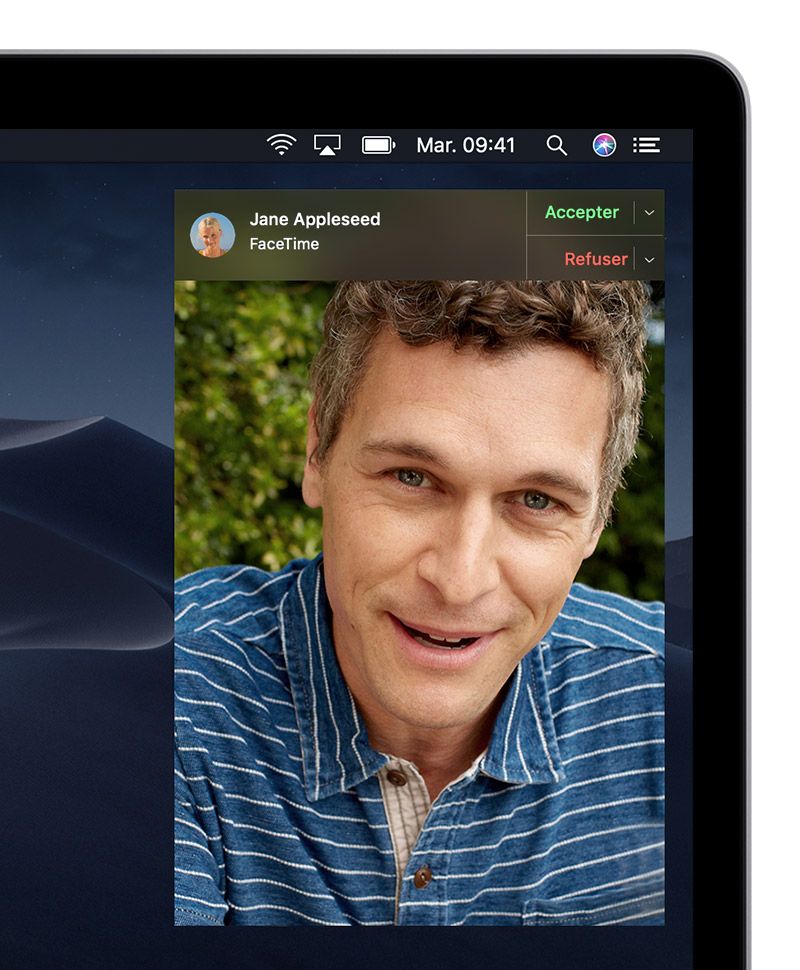 Réception d'une notification d'une demande d'appel FaceTime simple