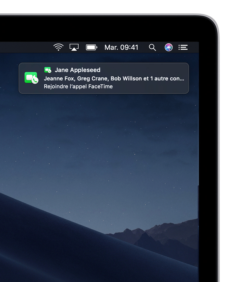 Réception d'une notification d'appel FaceTime en groupe