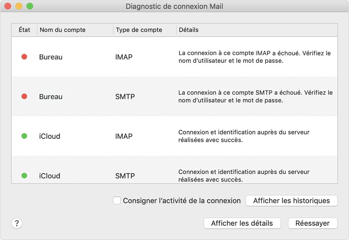 Utiliser Le Diagnostic De Connexion Mail Assistance Apple