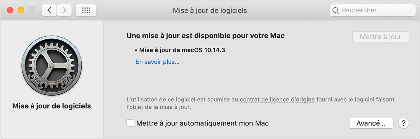 Mise à jour Apple du Système Mac OS X