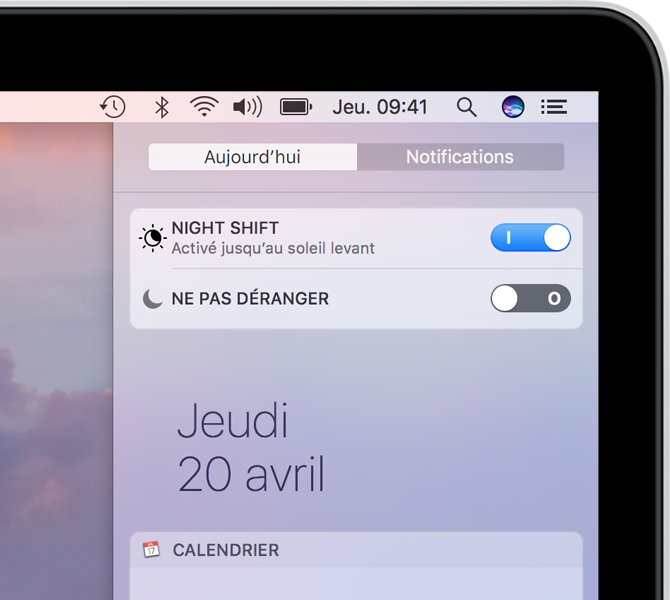 Réglage de Night Shift dans le centre de notifications