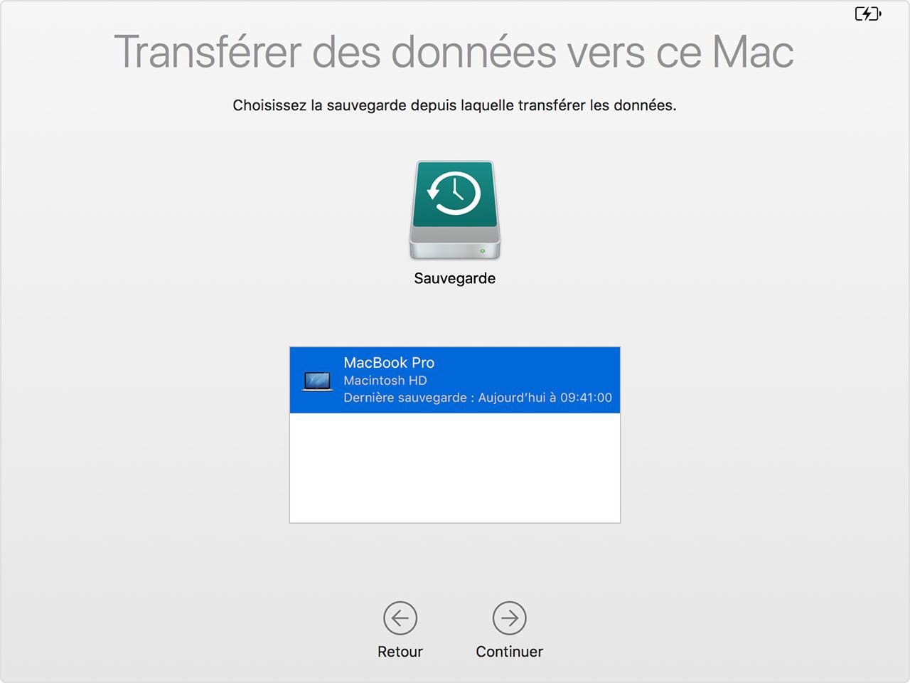 restaurer time machine sur un autre mac