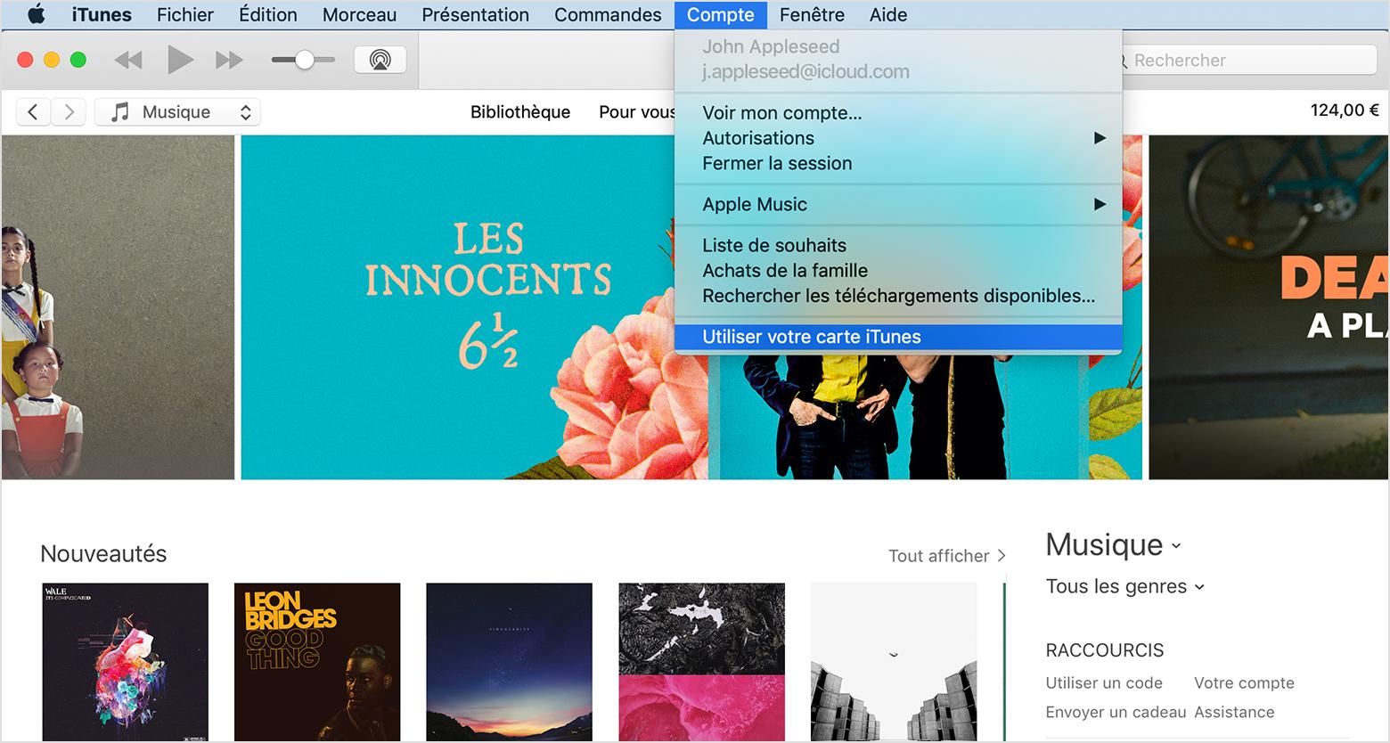 Menu Compte d'iTunes avec l'option Utiliser sélectionnée