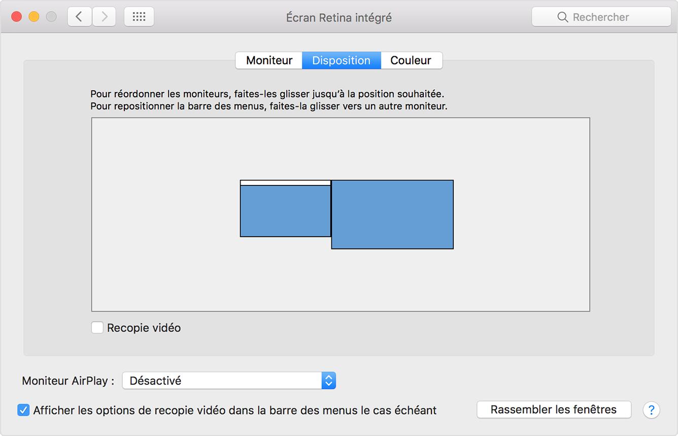 Utilisation de plusieurs crans avec votre mac for Mac fenetre hors ecran
