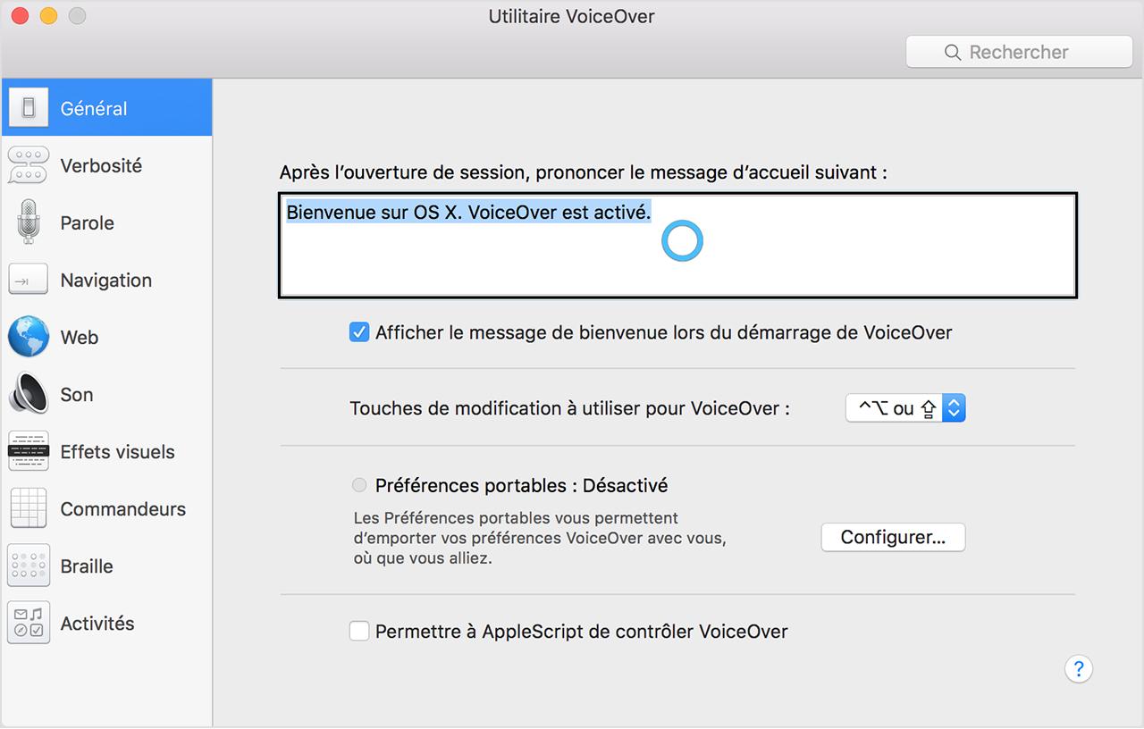 Contr le de voiceover avec le commandeur trackpad for Fenetre utilitaire mac