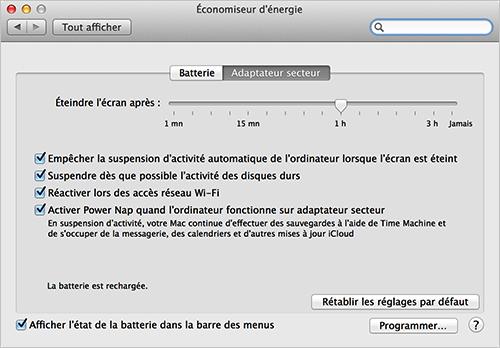Os x conomies d nergie gr ce aux diverses for Mac fenetre hors ecran