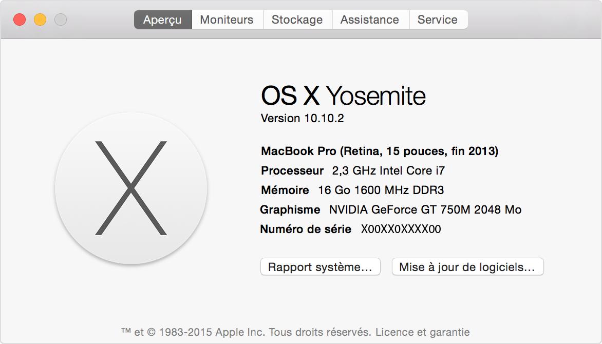 Localisation dans les fen tres propos de ce mac ou for Reduire fenetre mac