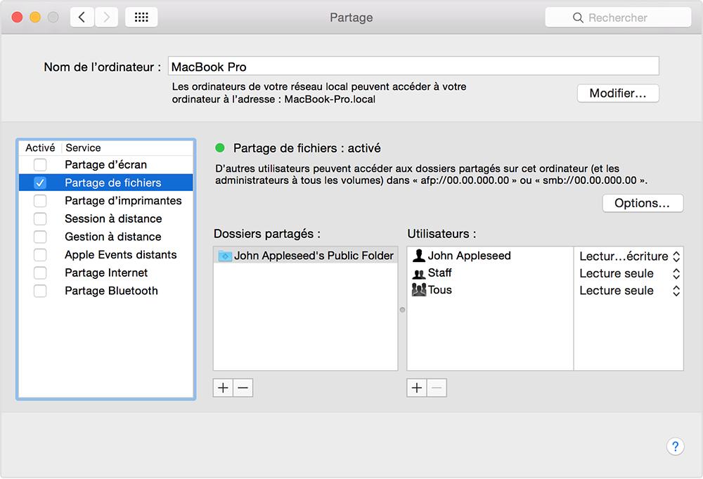 Utilisation De La Fonctionnalite Partage De Fichiers Sur Votre Mac