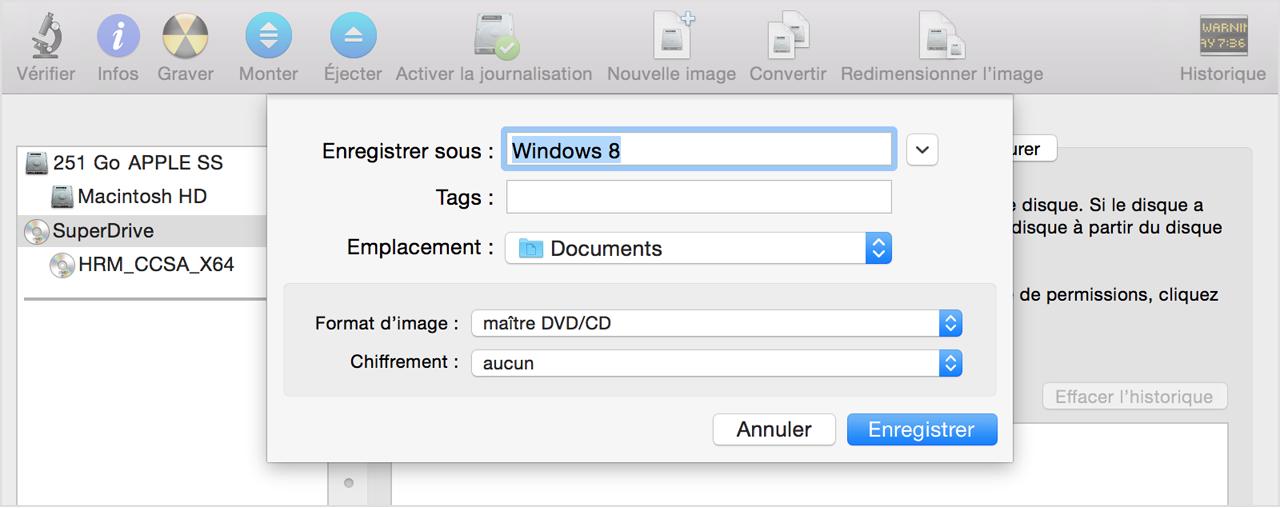 Cr ation d une image iso du support d installation de for Fenetre utilitaire mac