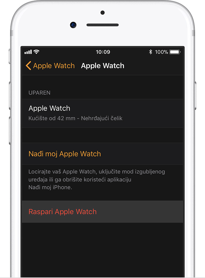Zaslon Apple Watch uređaja na iPhone uređaju