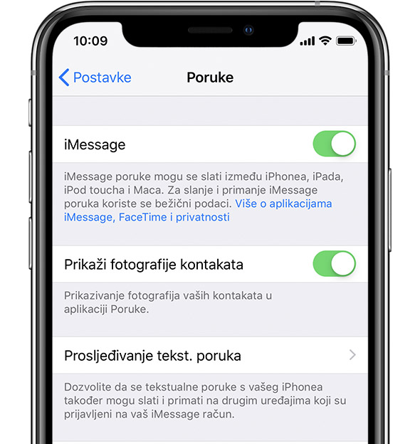 Postavke za iMessage na iPhone uređaju.