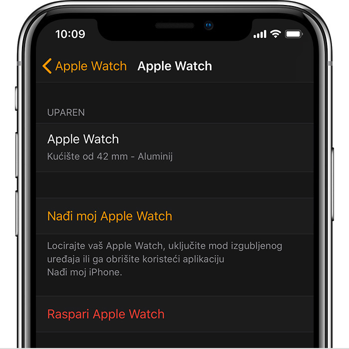 Postavke za Johnov Apple Watch uređaj u aplikaciji Sat.