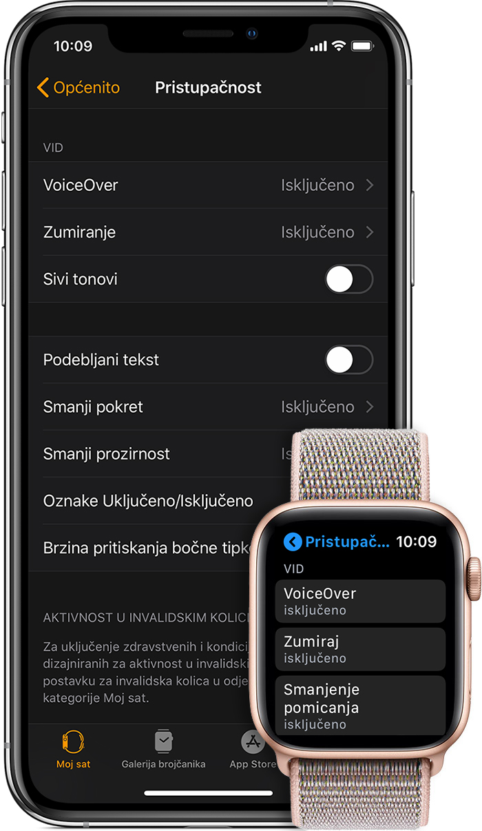 Značajke pristupačnosti na iPhone i Apple Watch uređajima