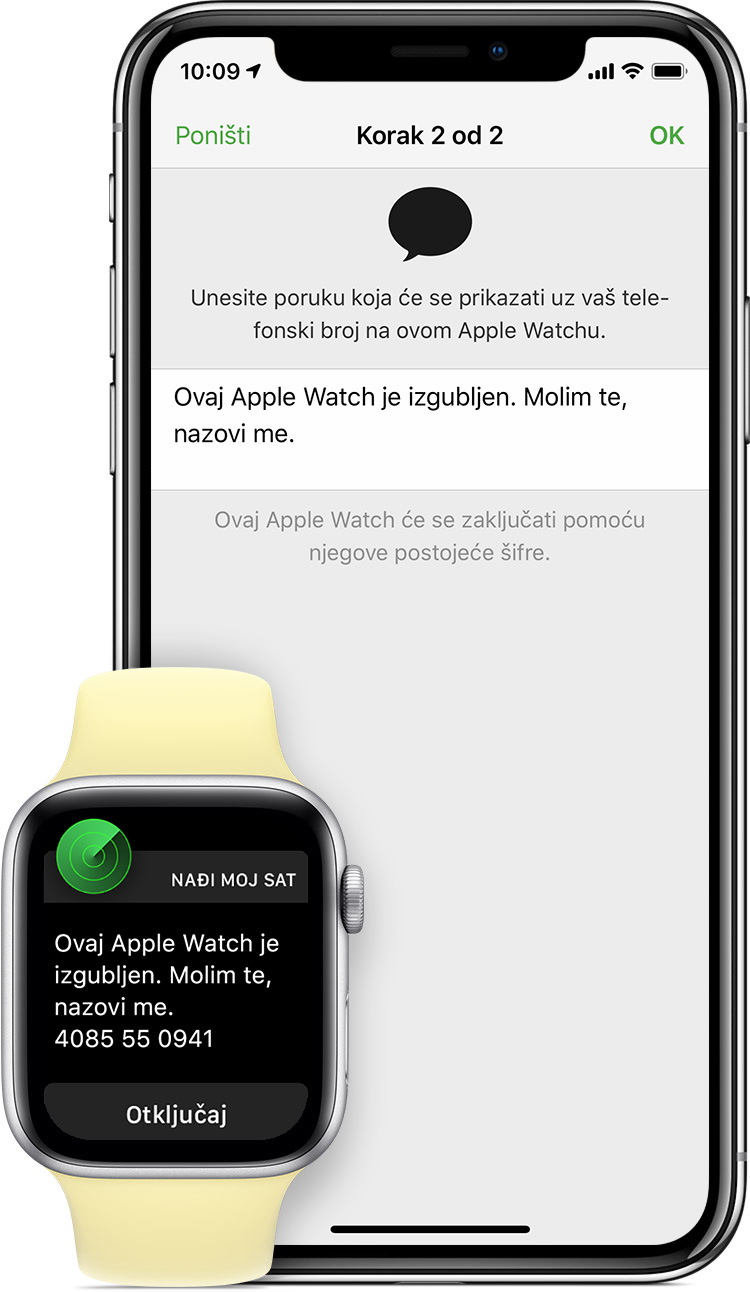 "Poruka ""This Apple Watch has been lost. Please call me"".  (Ovaj Apple Watch je izgubljen. Molim vas nazovite me.)"