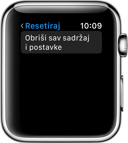 Zaslon za resetiranje na Apple Watch uređaju