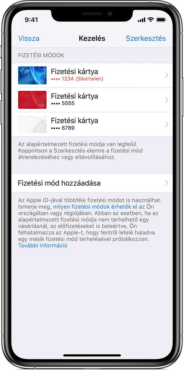 1fbadd9632 Egy iPhone-on a Fizetések kezelése oldal, ahol több fizetési eszköz  látható. A