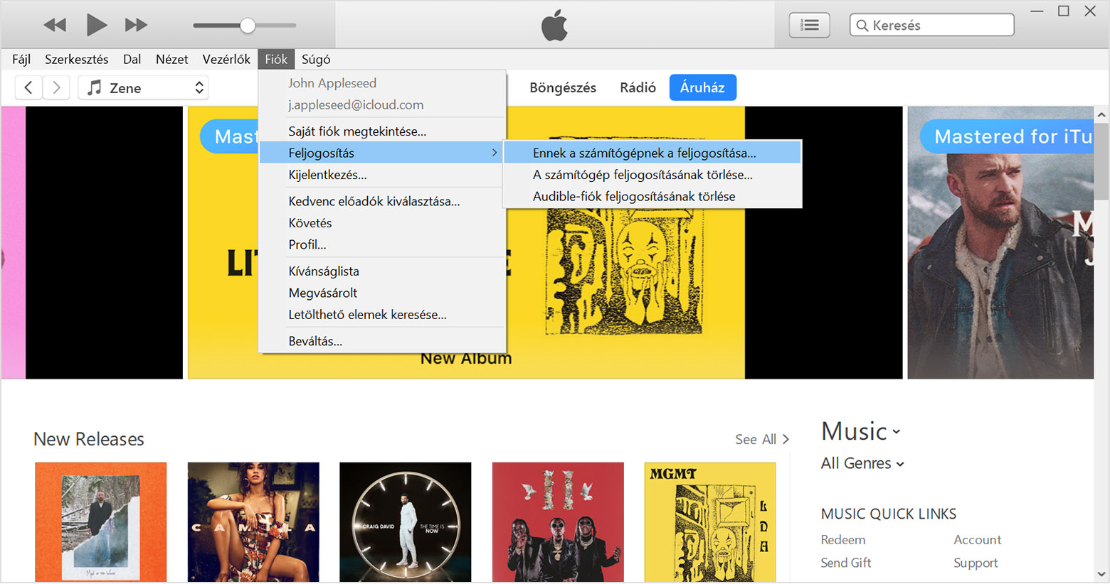 itunes account menu