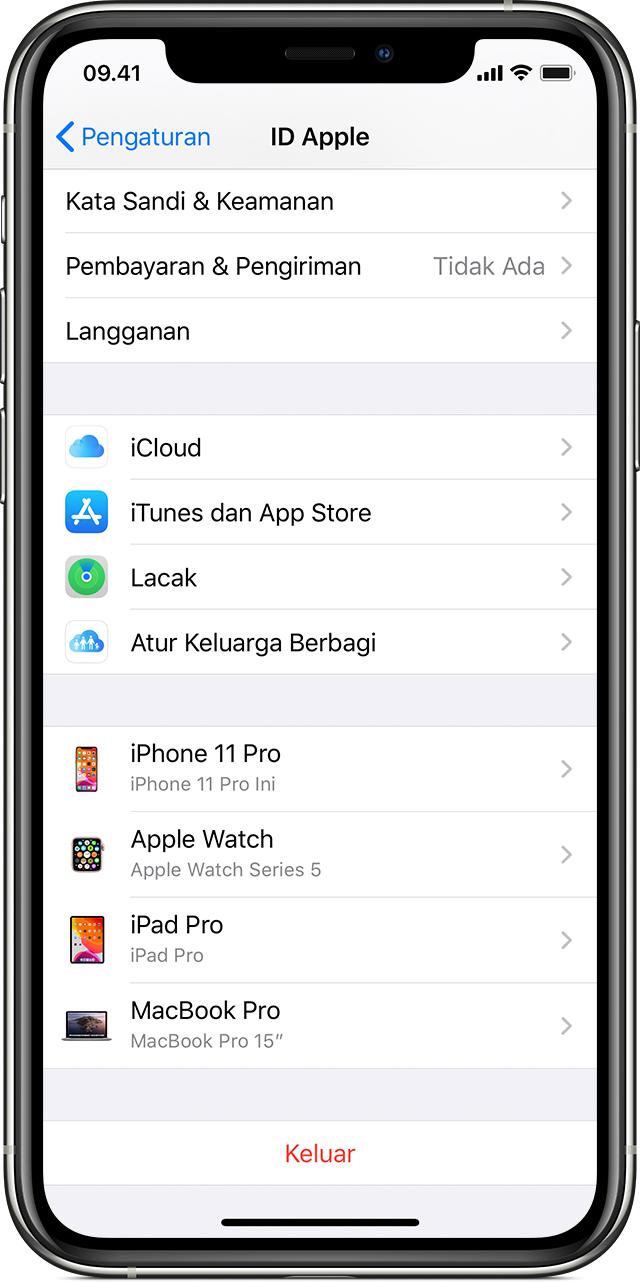 Melihat daftar perangkat ID Apple untuk mengetahui lokasi masuk