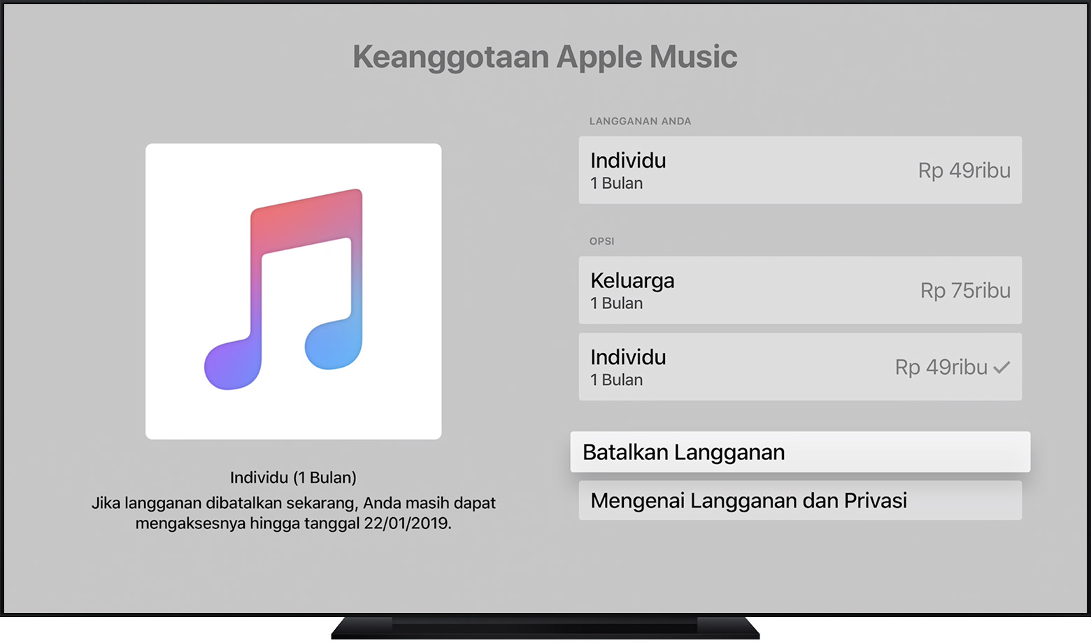 Apple TV menampilkan langganan Apple Music. Batalkan Langganan dipilih.