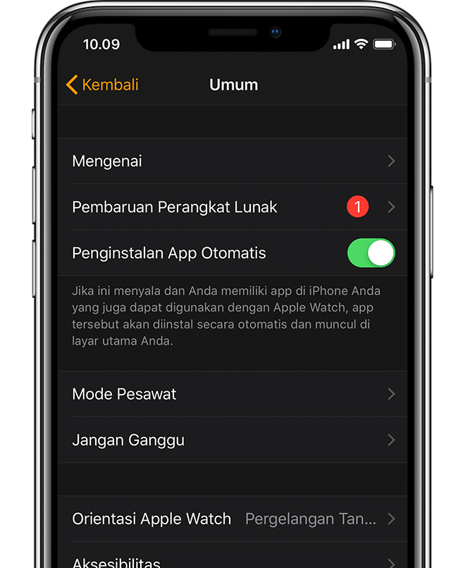 Aplikasi Apple Watch menampilkan satu pembaruan perangkat lunak yang  tersedia. 12f33b1fb4