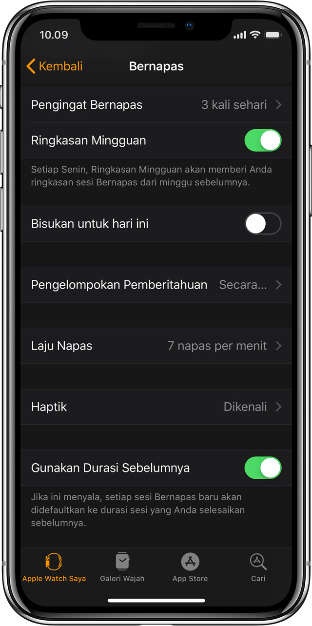 Pengaturan Bernapas di iPhone dalam app Apple Watch.