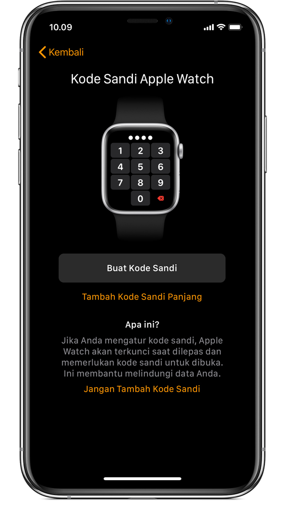 Layar Kode Sandi Apple Watch di iPhone.