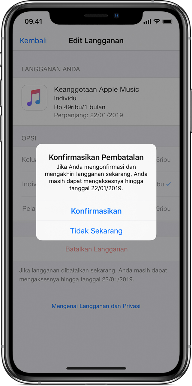 iPhone X menampilkan langganan Apple Music. Pop-up tampil di latar depan, meminta konfirmasi pembatalan langganan.