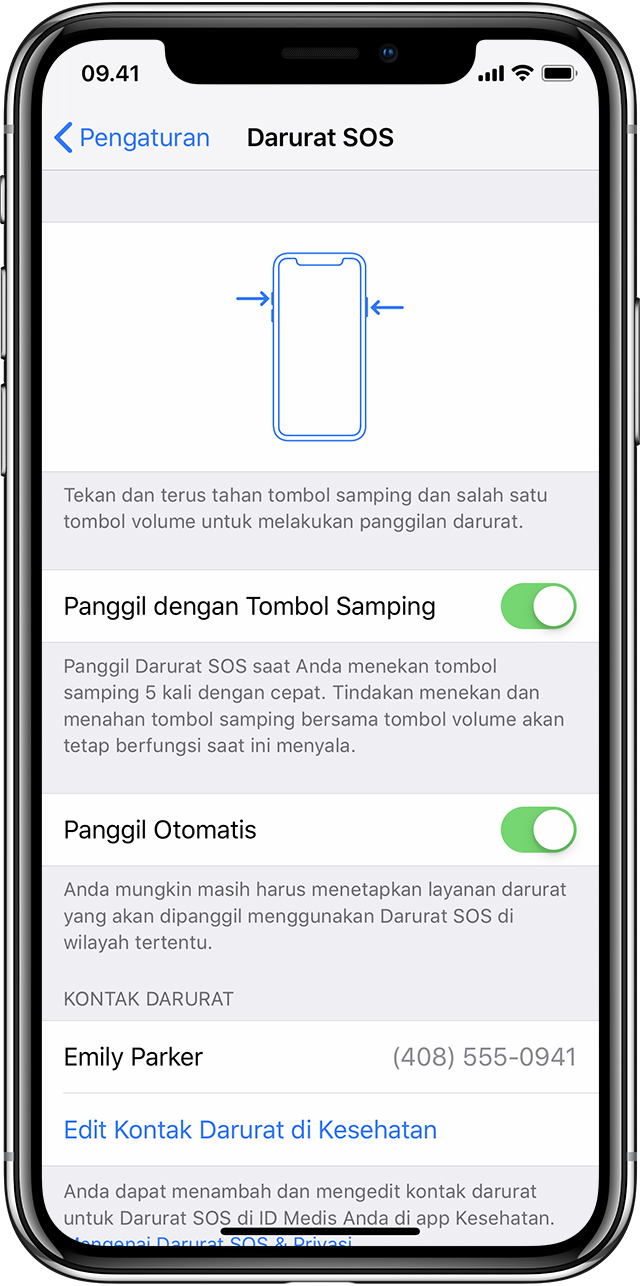 Pengaturan SOS di iPhone X
