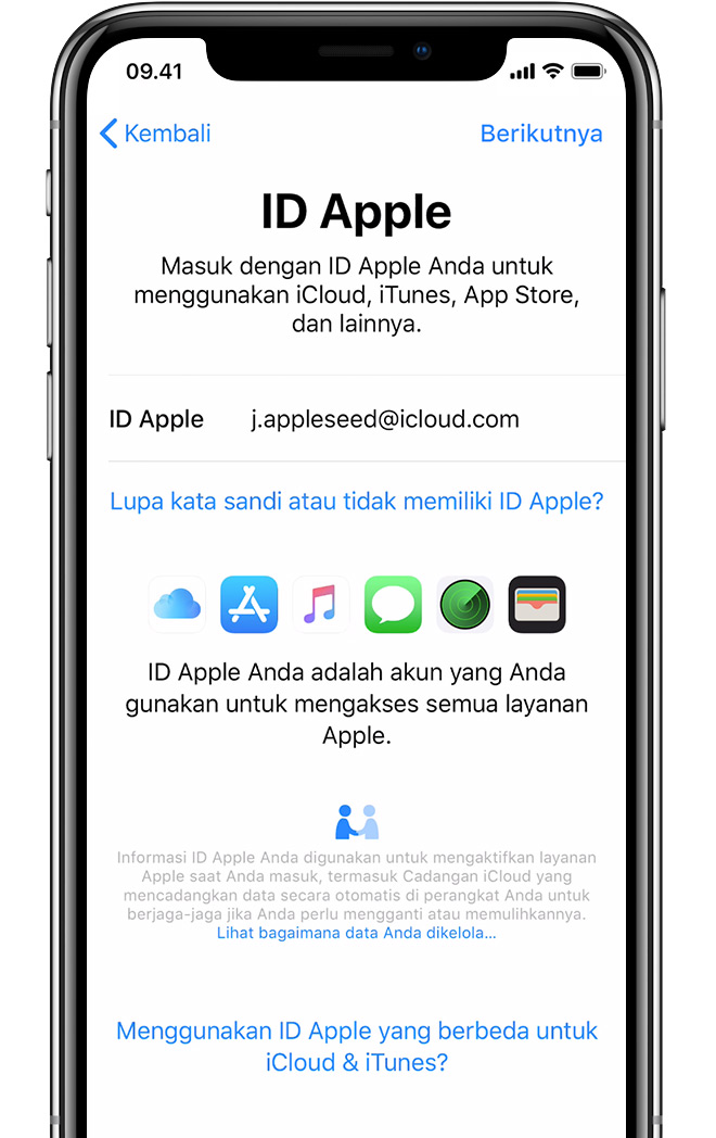 Layar pengaturan ID Apple di iPhone