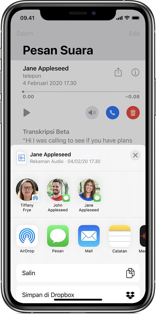 Menyimpan Dan Membagikan Pesan Suara Visual Di Iphone Apple Support