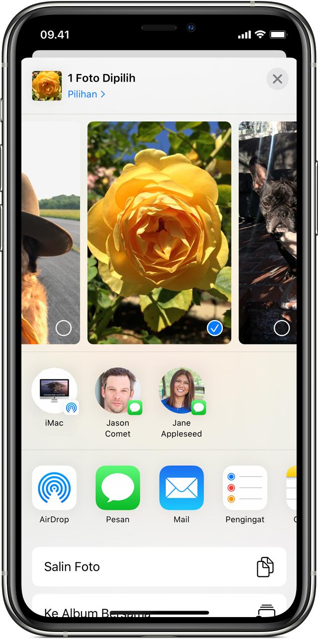 Kontak AirDrop di iOS