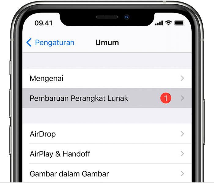 iPhone pada layar Pengaturan > Umum menampilkan angka berwarna merah di sebelah pilihan Pembaruan Perangkat Lunak. Hal ini menunjukkan bahwa ada versi perangkat lunak baru yang siap diunduh dan diinstal.