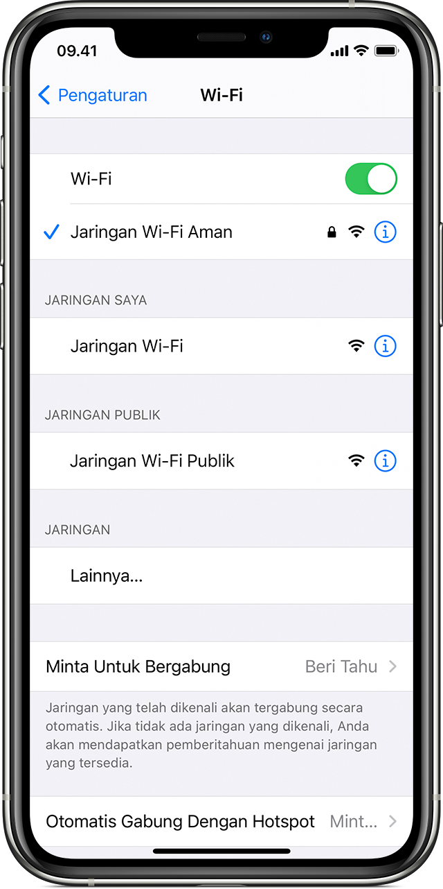 Menghubungkan ke Wi-Fi di iPhone, iPad, atau iPod touch - Apple