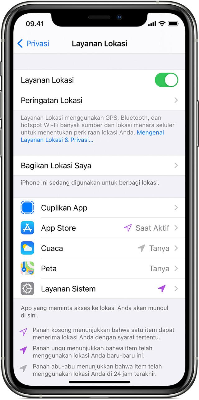 Menyalakan atau mematikan Layanan Lokasi dan GPS di iPhone, iPad