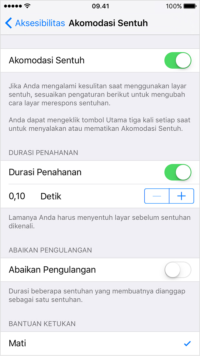 Menggunakan Akomodasi Sentuh Di Iphone Ipad Atau Ipod Touch
