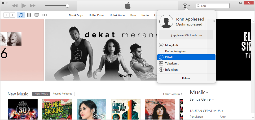 menu dibeli iTunes windows